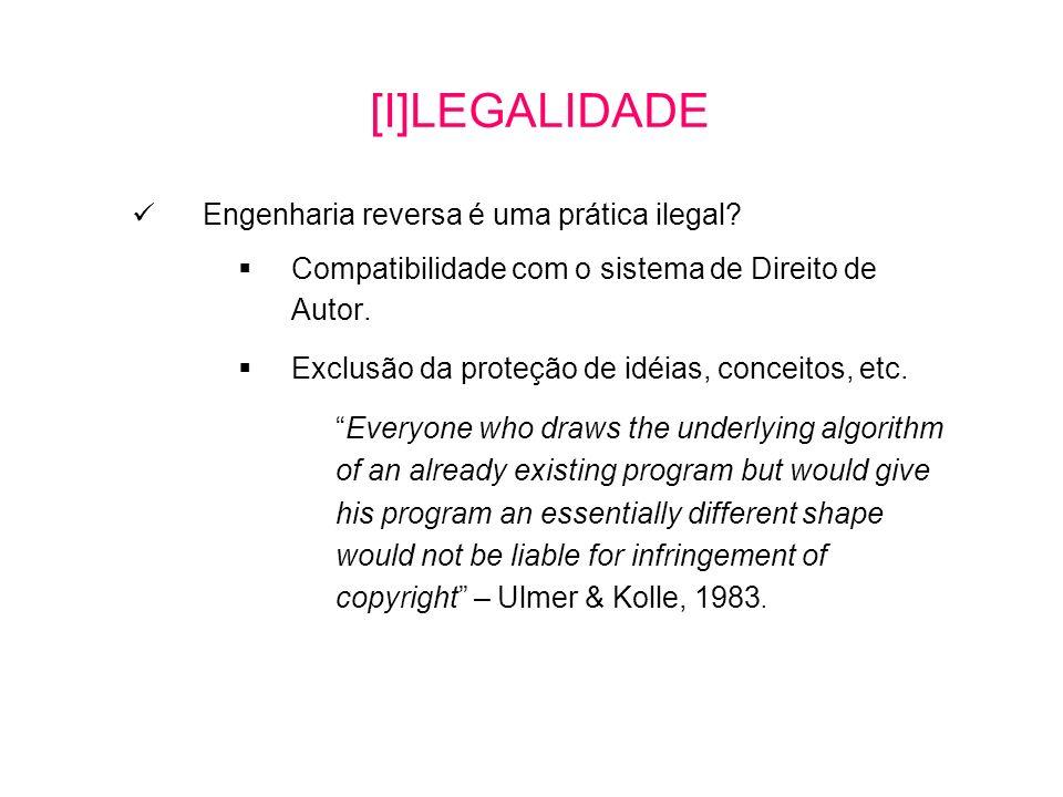 [I]LEGALIDADE Engenharia reversa é uma prática ilegal